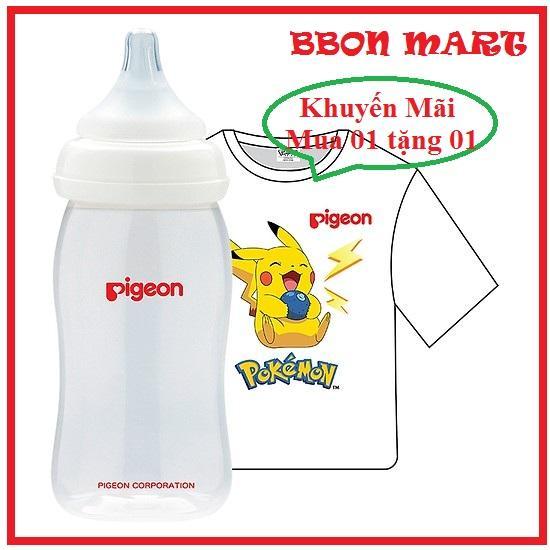 Bình Sữa PP Plus 240ml Tặng 01 Áo Thun Pokemon Pigeon
