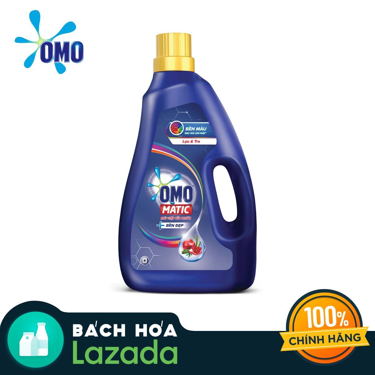 Chai Nước giặt OMO Matic Bền Đẹp Cửa Trước Hương Lựu và Tre 2.3kg