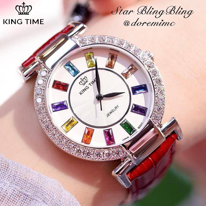Đồng hồ nữ KING TIME Đính Đá Ruby Cầu Vòng, Mặt to nổi bật, Chống nước sinh hoạt 2