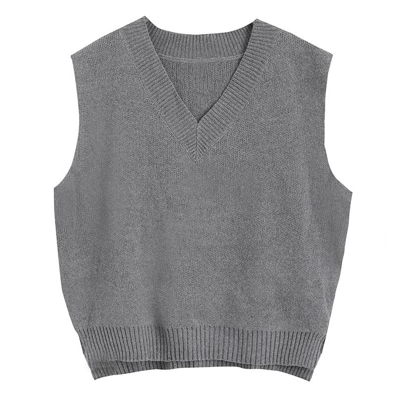 LEEVA- Set gile len đan nữ màu xám phối áo thun tay lỡ đơn giản A057