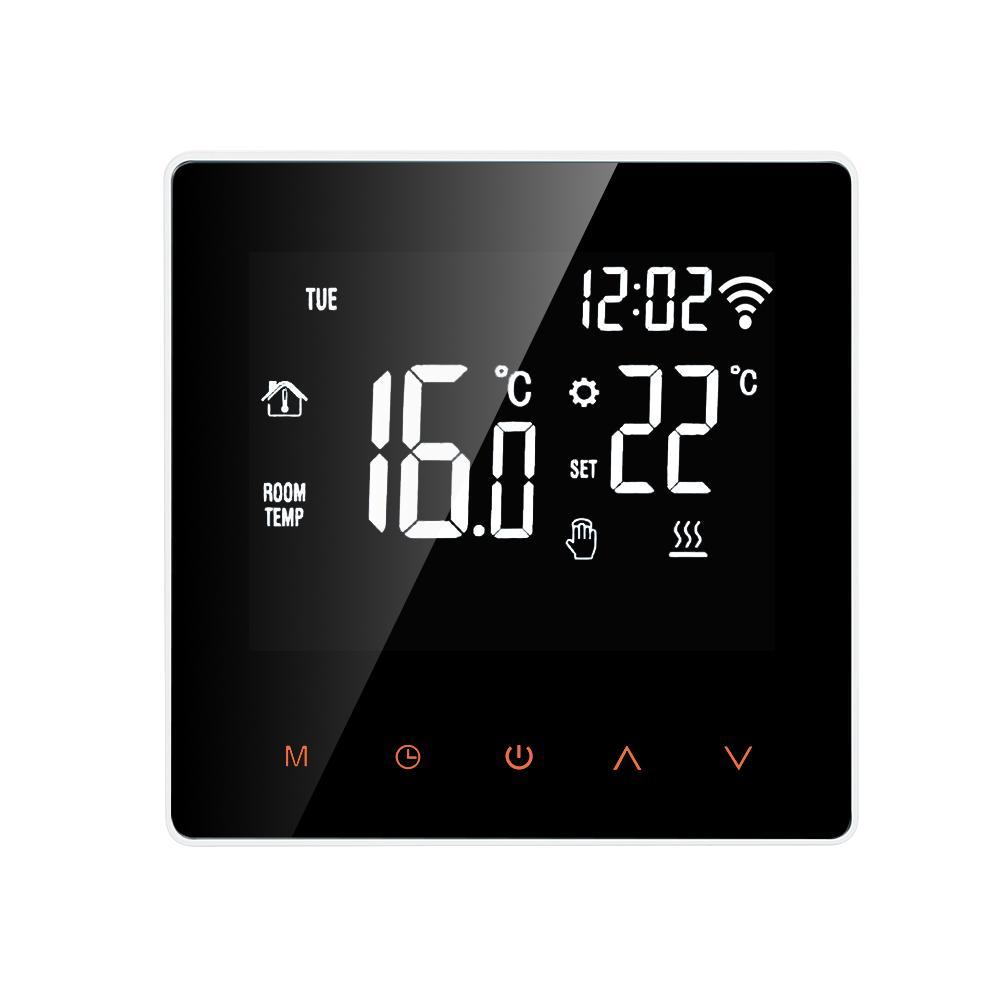Bộ điều chỉnh nhiệt thông minh Wi-Fi Bộ điều khiển nhiệt độ kỹ thuật số Điều khiển màn hình LCD Màn hình cảm ứng Tuần có thể lập trình Nhiệt điện sàn cho gia đình Văn phòng tại nhà Khách sạn 16A