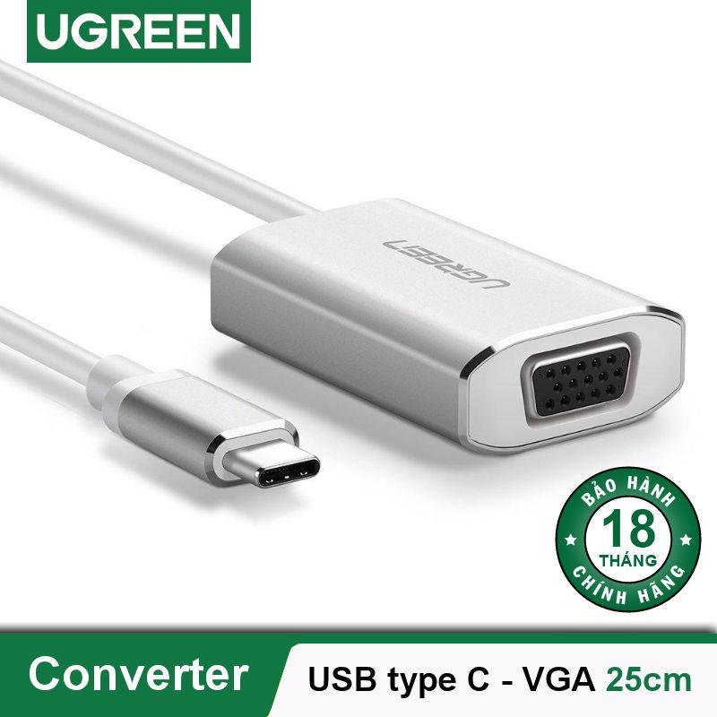 Cáp chuyển đổi USB type C sang VGA dài 25cm UGREEN CM114 40866