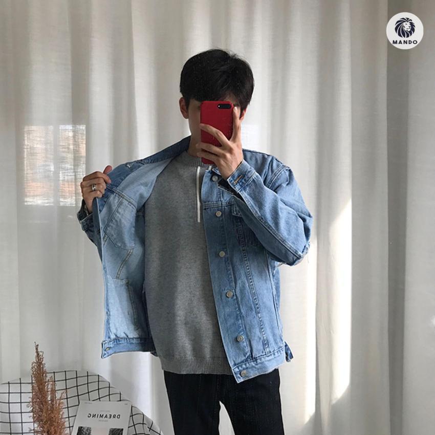 Áo Khoác Jean / Denim Jacket Dáng Cổ Điển Basic - AKB1 Xanh Bò