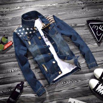 Áo khoác Jean nam rách vai phối ngôi sao (size L)