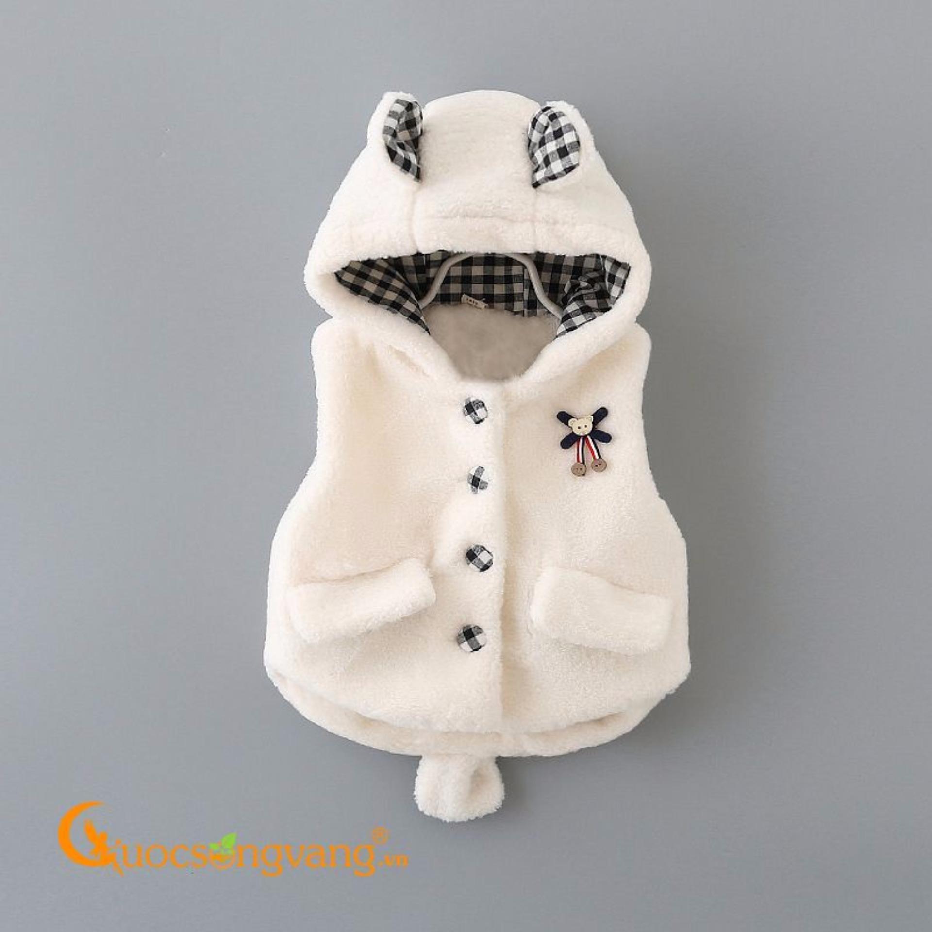 Áo khoác trẻ em áo khoác lông trẻ em hình gấu GLA054-White