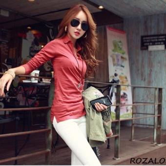 Áo thun nữ Hàn quốc có cổ dài tay Rozalo RW2348MG - Màu Gạch ...