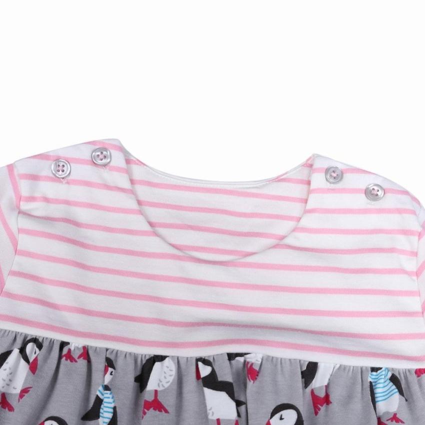 Autumn Baby Girl Dress Penguin Stripe Children Long Sleeve