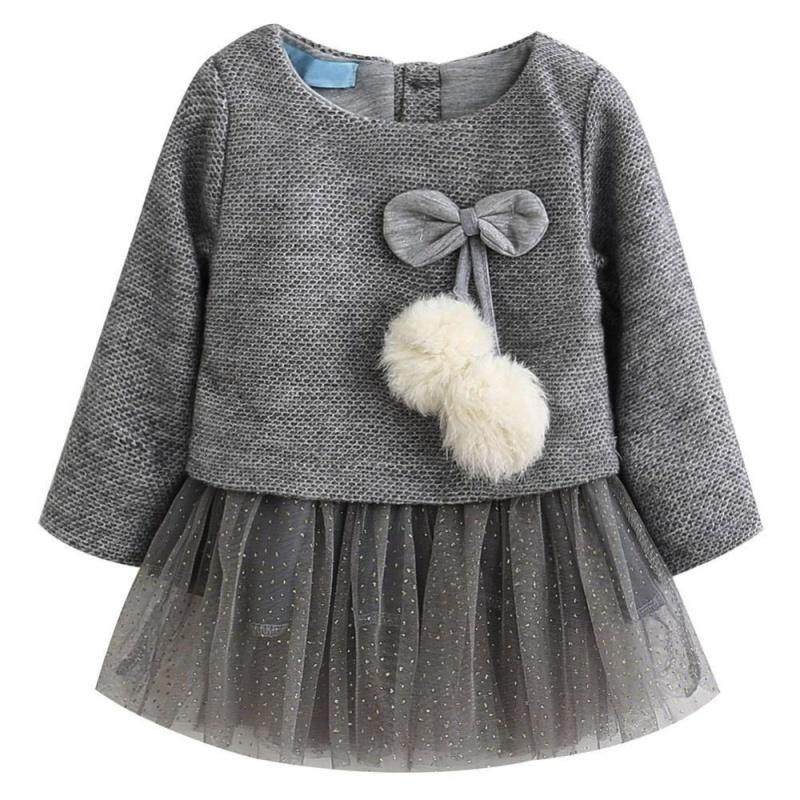 Giá bán Baby Girls Knitted Wool Gauze Fur-Ball Princess Dress - intl