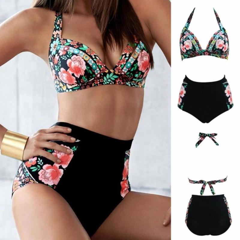 Nơi bán Bikins Women 2017 New Plus Size Swimwear Print Floral High Waisted Bathing Suits Swim Halter bikinis Set Biquini - intl