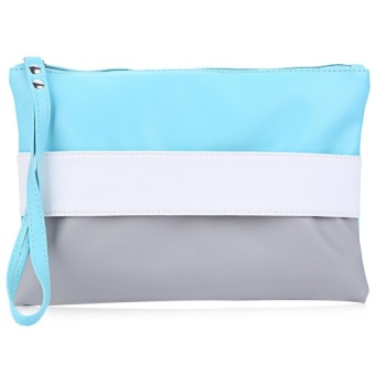 Block Zipper Portable Clutch Bag Women - intl