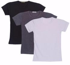 Bộ 3 áo thun nam body cổ tròn (Đen, Trắng, Xám)