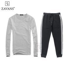 Bộ áo thun nam dài tay và quần jogger thun thời trang ZAVANS (Áo xám - quần đen)
