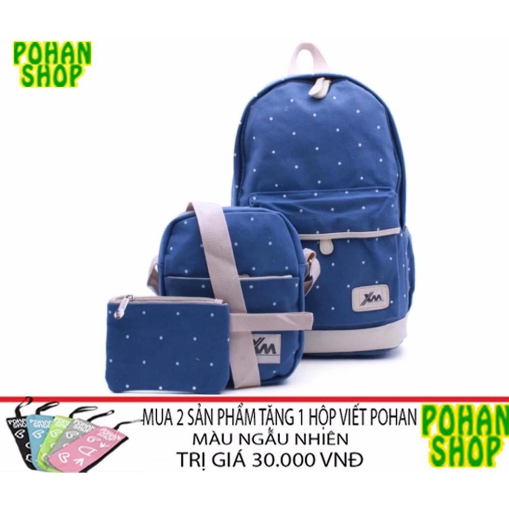 Bộ ba ba lô+túi đeo chéo+ví nhỏ PH3 (xanh nhạt)- tặng quà khi mua 2SP