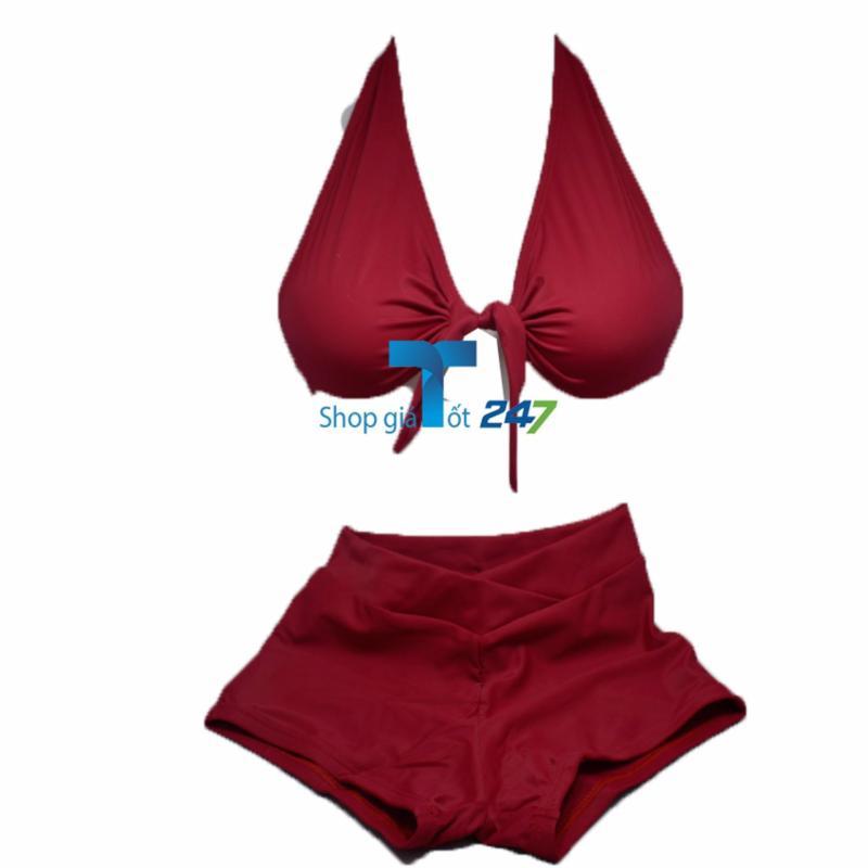 Nơi bán Bộ bơi áo thắt dây ngực kèm quần sooc vát chéo ( Đỏ)