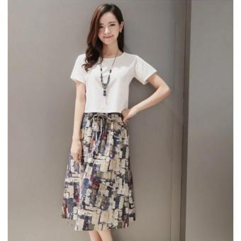 Bộ chân váy và áo thời trang xuân hè (Trắng) - 2
