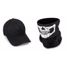 Bộ mũ lưỡi trai đen trơn và khăn phượt đen
