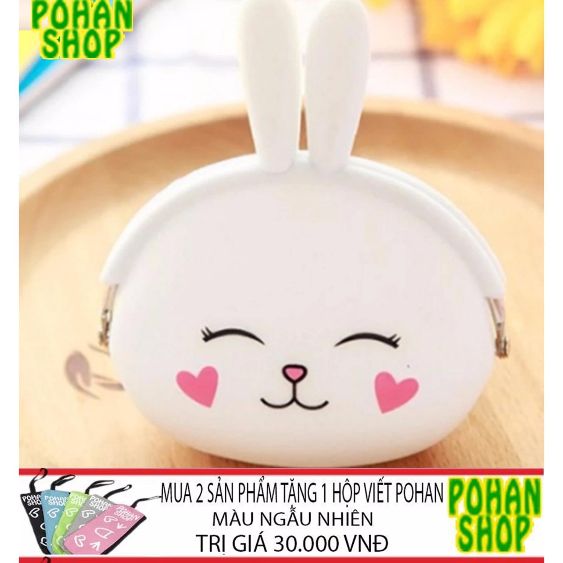 Bóp Ví Nữ Silicon Nhỏ Xinh POHAN SL3 (Thỏ Trắng)- tặng ví khi mua 2SP