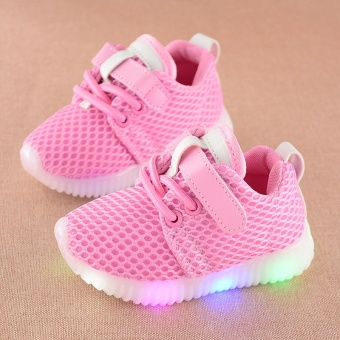 Boys and girls fashion casual light flashing coconut shoes(Pink) - intl
