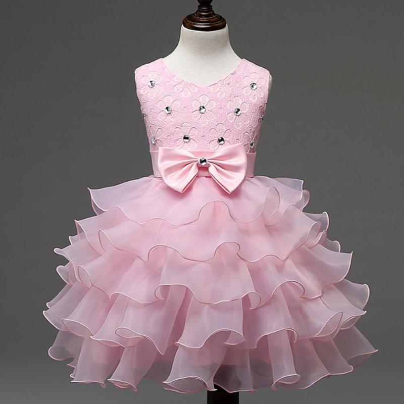 Giá bán BUYINCOINS Baby Girls Dresses Kids Bowknot Beads Ruffles Lace Princess Party Wedding Dress Pink & 140cm - intl