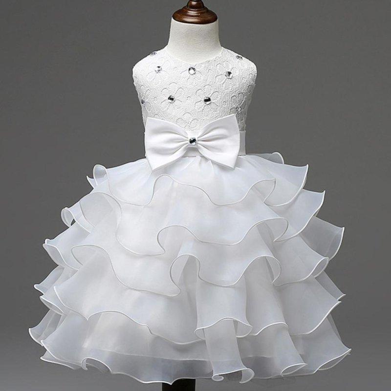 Giá bán BUYINCOINS Baby Girls Dresses Kids Bowknot Beads Ruffles Lace Princess Party Wedding Dress White & 140cm - intl