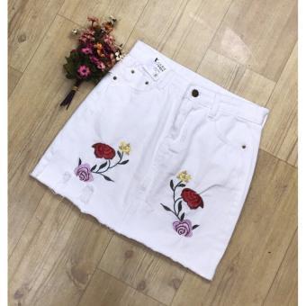 NO007FAAA5OHFZVNAMZ-10416515 - Chân váy jean rách thêu hoa - Trắng - Rain shop