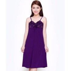Tư vấn chọn mua combo 2 váy ngủ 2 dây thun lạnh phối ren sexy-VN206 (tím, hồng)