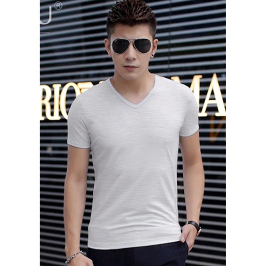 Combo 3 áo thun nam body cổ tim mềm mịn, thấm hút tốt ( đen, trắng, xám )