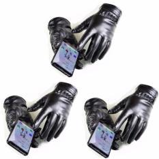 Combo 3 bộ găng tay da UNISEX cảm ứng lót lông 2017