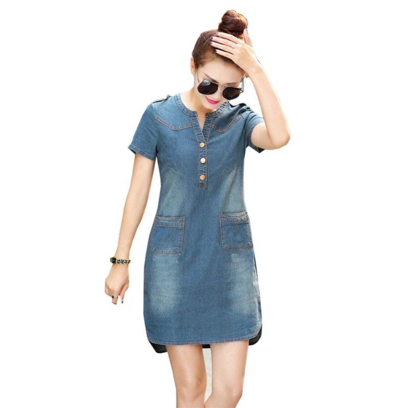 Nơi bán Đầm jean dạo phố cổ trụ 2 túi cao cấp BEYEU1688 - BY6019(lợt)