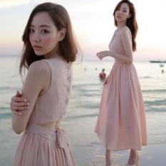 Giá Khuyến Mại Đầm maxi voan cách điệu Misa Fashion MS100 / Hồng  MisaFashion..