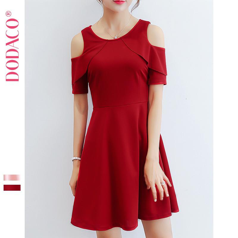 Nơi bán Đầm ngắn nữ công sở hở vai tay ngắn DODACO DDC1904 DO DNU - 257RX (Đỏ)