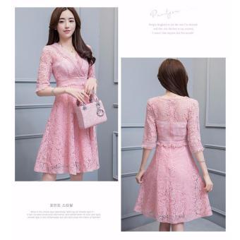 Đầm ren Cao Cấp Trang Nhã ĐỦ SIZE BEYEU1688 - BY4206 (HỒNG)