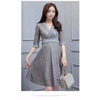 Đầm ren Cao Cấp Trang Nhã ĐỦ SIZE BEYEU1688 - BY4206 (XÁM)