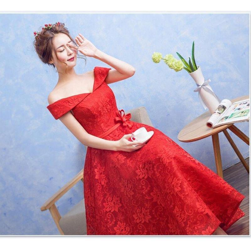 Nơi bán Đầm Ren Xòe Trễ Vai Dây Đan Chéo Lưng - Kèm Nơ Hoa Eo Hana Fashion ( Đỏ)