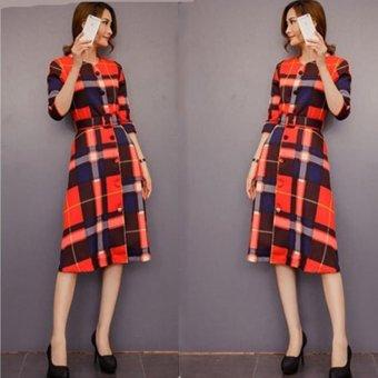 Đầm suông caro phong cách âu châu cá tính mạnh mẽ-151 (Đỏ)