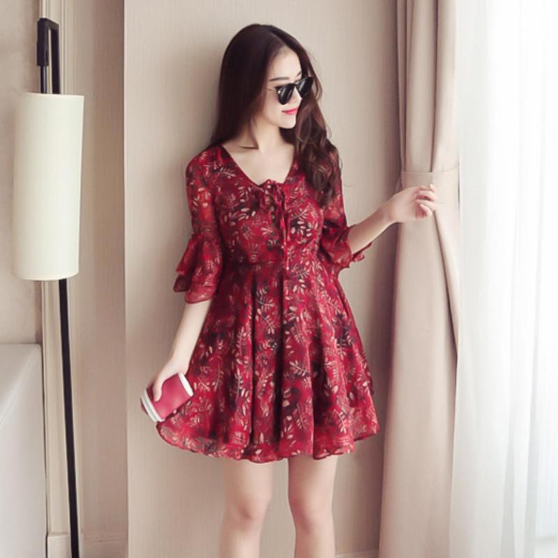 Nơi bán Đầm xòe voan hoa thời trang ZAVANS (Đỏ)