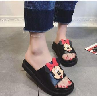Dép quai ngang nữ đế cao Mickey - GiayKS - Mickey001 (đen) - 4