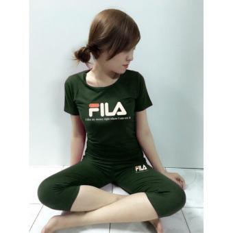 Đồ bộ nữ mặc nhà quần lửng thun cotton dễ thương size S, M, L (Xanhrêu)