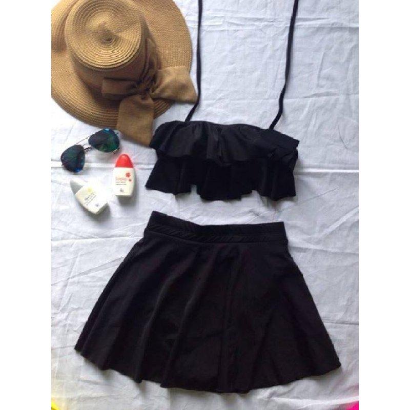 Nơi bán Đồ bơi nữ váy bèo (đen)