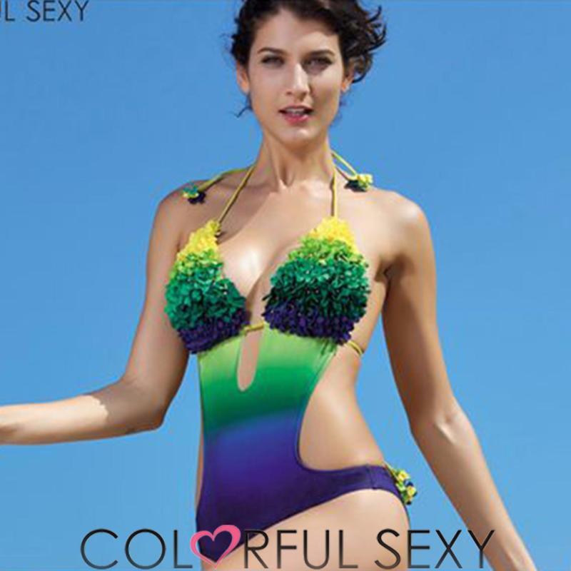 Nơi bán Đồ bơi thêu hoa Colorful Sexy khoét eo nổi bật