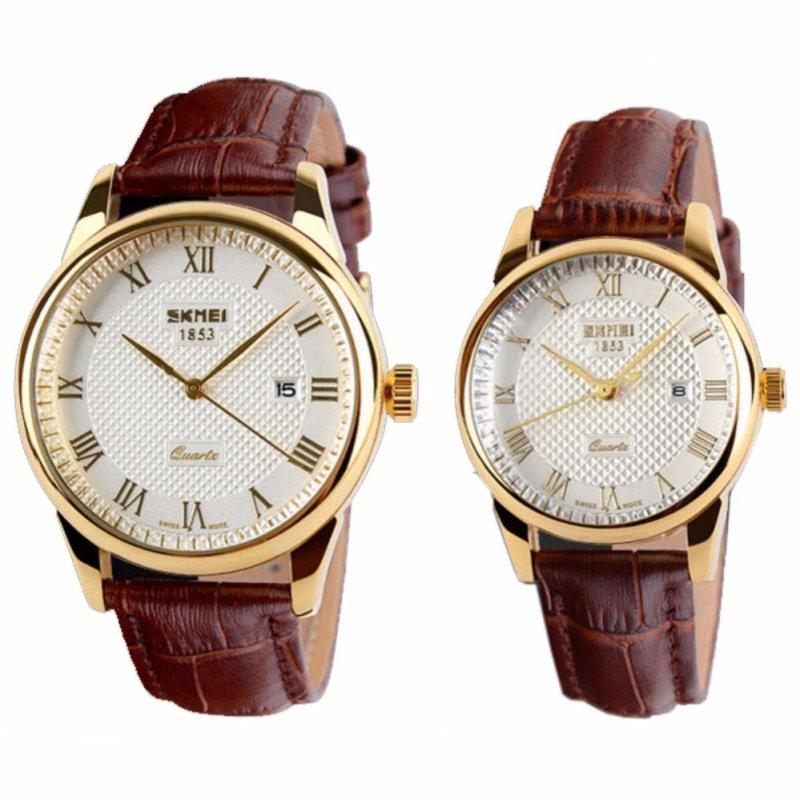 Nơi bán Đồng hồ đôi dây da Skmei 9058 (Nâu phối trắng)