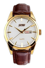 Đồng hồ nam dây da Skmei 9073 (Nâu)