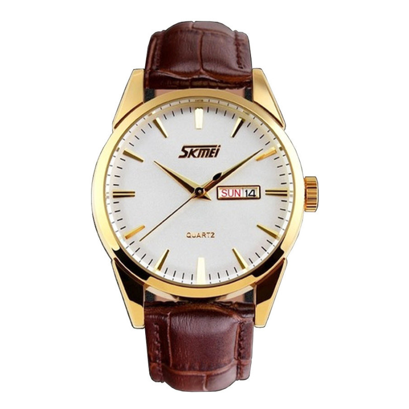 Nơi bán Đồng hồ nam dây da Skmei 9073 (Nâu)