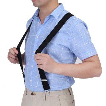 Bảng Báo Giá Elastic 3.5cm Width Men X-Shape Adjustable 4 Clips Belts Braces (Black) – intl