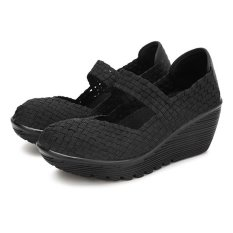 Nơi Bán Elastic Belt Woven Swing Shoes Female Sport Sandals Shoes Black – intl   Channy