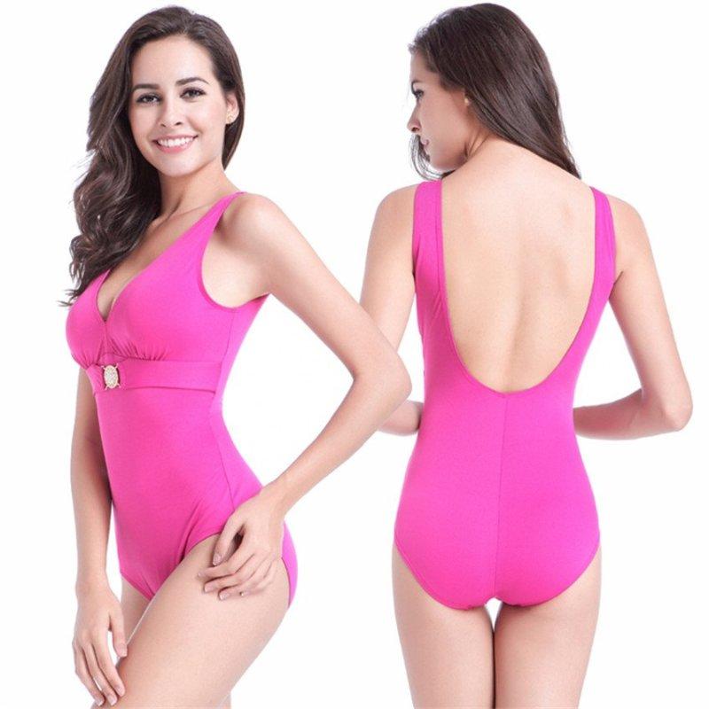 Nơi bán European American Large Size Siamese Silm Swimsuit (Rose-32) - intl