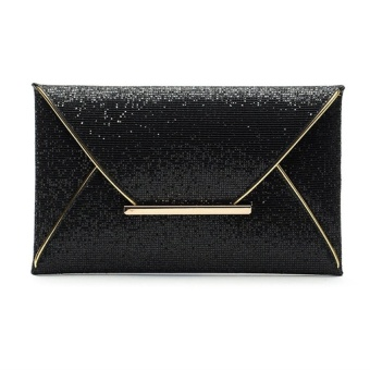 Fashion hot Women Synthetic Leather Sequined OL Envelop Clutch Bag Black - intl