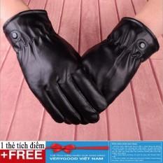 Găng tay da cúc lót bông cảm ứng ( Nữ) + Tặng thẻ tích điểm Verygood