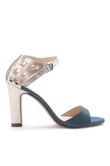 Giày cao gót có quai hậu cách điệu Senta (Xanh)