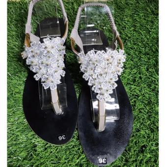 Giày sandal kết hoa cao cấp-màu xám